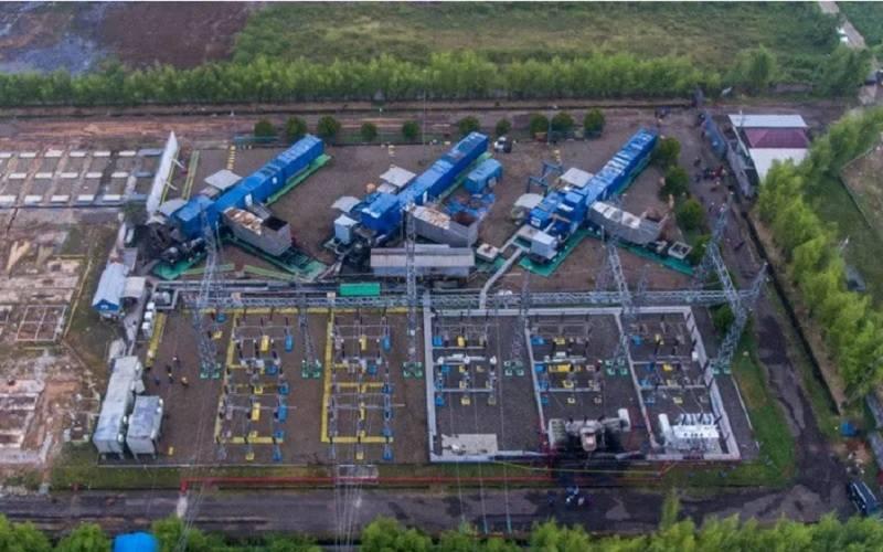 Foto udara Pembangkit Listrik Tenaga Gas (PLTG) melalui