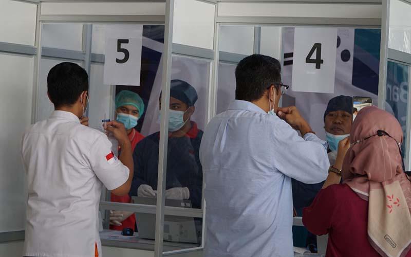 Posko Layanan Tes GeNose C19 di area kedatanganBandara Internasional Sultan Hasanuddin Makassar.  - Istimewa