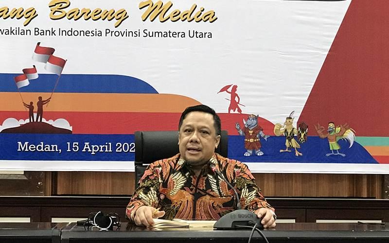 Deputi Kepala Perwakilan BI Provinsi Sumut Andiwiana Septonarwanto dalam acara Bincang Bareng Media, Kamis (16/4/2021). - Bisnis/Cristine Evifania Manik