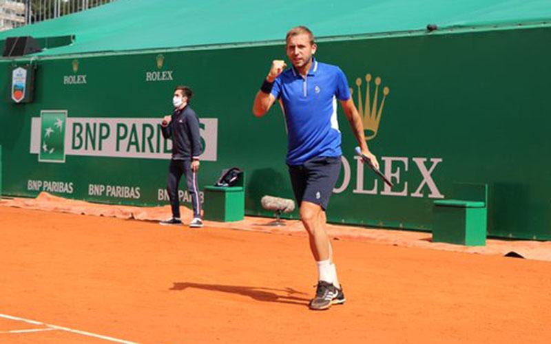 Petenis Inggris Dan Evans setelah menaklukkan David Goffin di perempat final Monte Carlo Masters. - Twitter@RolexMCMasters