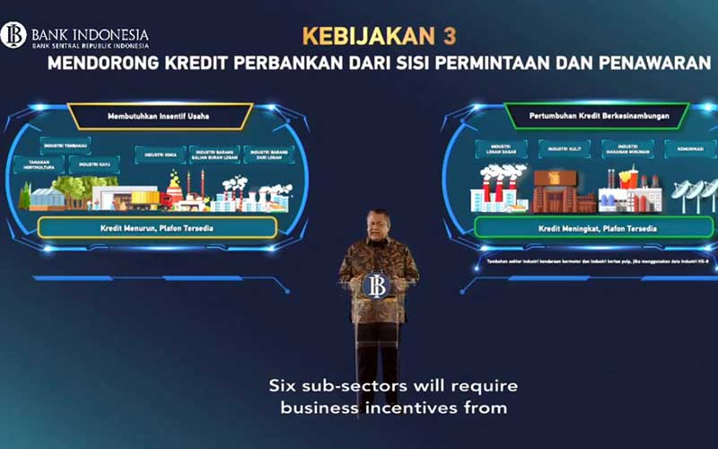 Gubernur Bank Indonesia Perry Warjiyo memaparkan materi saat acara Pertemuan Tahunan Bank Indonesia di Jakarta, Kamis (3/12 - 2020). Bisnis