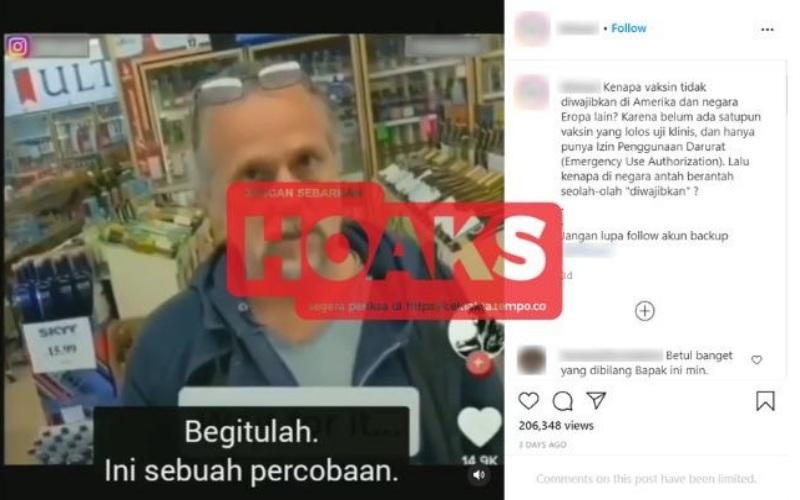 Gambar tangkapan layar unggahan di Instagram yang berisi klaim sesat terkait vaksinasi Covid-19. - Istimewa