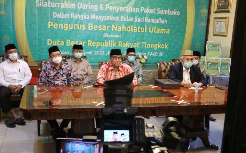 KH Said Aqiel Siradj, Ketua Umum PBNU dan jajarannya. NU merupakan ormas muslim terbesar yang berperan penting di bidang agama, politik dan sosial di Indonesia.  - PBNU