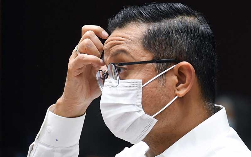 EksMenteri Sosial Juliari P Batubara saat mengikuti rapat kerja dengan Komisi VIII DPR di Kompleks Parlemen, Senayan, Jakarta, Rabu (23/9/2020). ANTARA FOTO - Hafidz Mubarak A