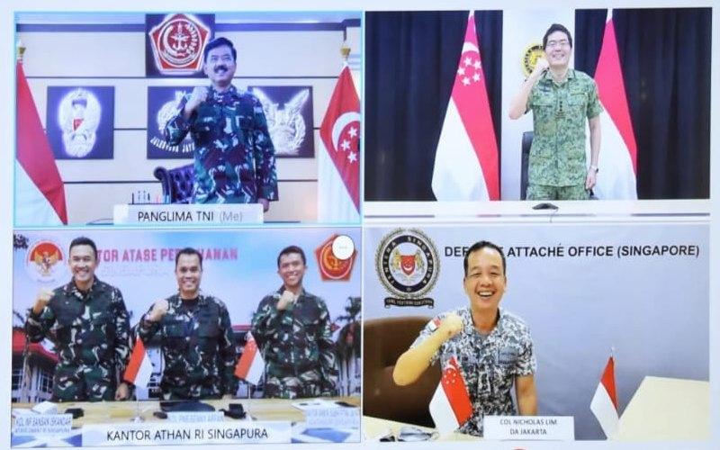 Pertemuan virtual Panglima Angkatan Bersenjata (Pangab) Singapura Letnan Jenderal Melvyn Ong dengan Panglima TNI Marsekal TNI Hadi Tjahjanto - Puspen TNI