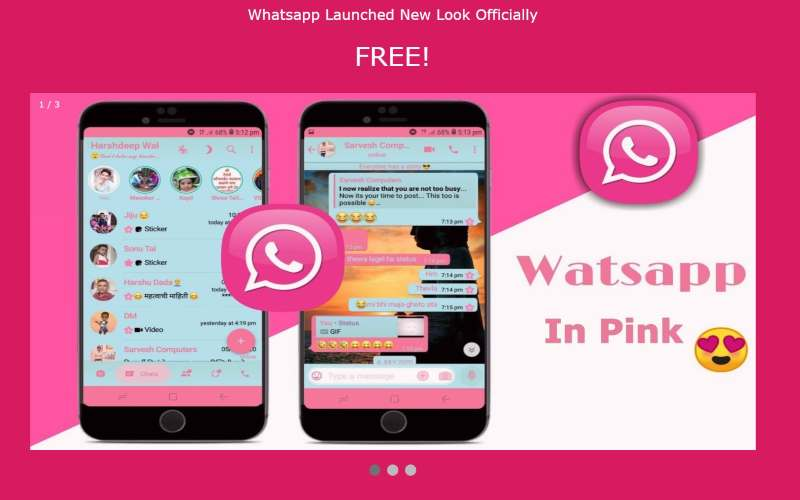 Tampilan WhatsApp pink