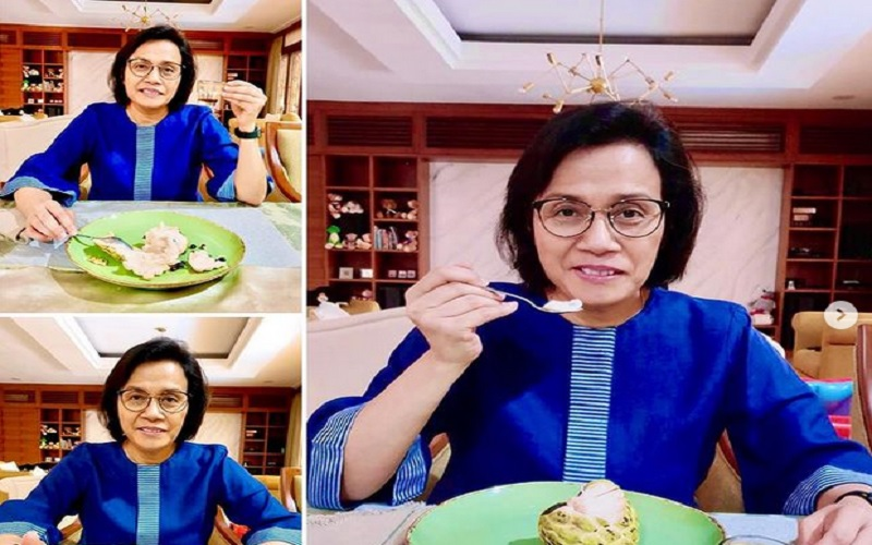 Sri Mulyani mempromosikan buah dan kopi lokal Indonesia. - Instagram @smindrawati