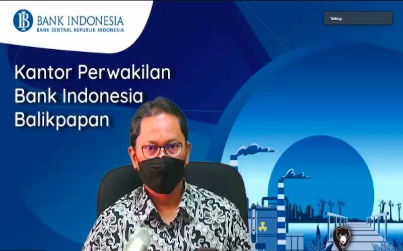 Kepala Perwakilan Bank Indonesia Balikpapan Sri Darmadi Sudibyo saat memberikan penjelasan mengenai estimasi kebutuhan uang kartal di wilayah kerja Bank Indonesia Balikpapan. - JIBI/Rachmad Subiyanto