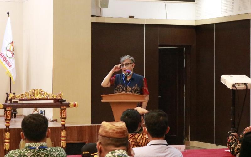 Budiman Sudjatmiko saat memberikan sambutan dalam Musyawarah Nasional yang dilaksanakan pada Jumat (24/4/2021) di Yogyakarta. - Bisnis/Muhammad Faisal Nur Ikhsan