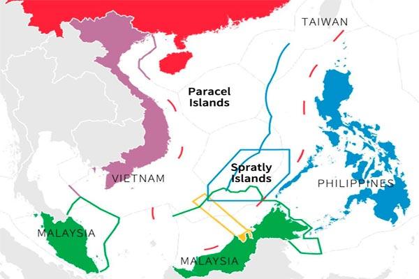 Wilayah Laut China Selatan yang diklaim oleh Brunei, China, Malaysia, Filipina, dan Vietnam.  - Reuters