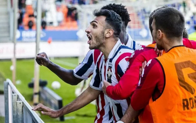 Penyerang Willem II Tilburg Vangelis Pavlidis melakukan selebrasi selepas menjebol gawang RKC Waalwijk./Antara - Reuters