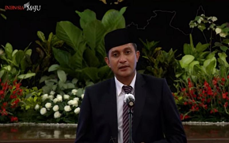 Wamenkumham Eddy Hiariej memberikan keterangan pers seusai pelantikan di Istana Negara, Jakarta (23/12/2020).  -  Youtube: Setpres RI