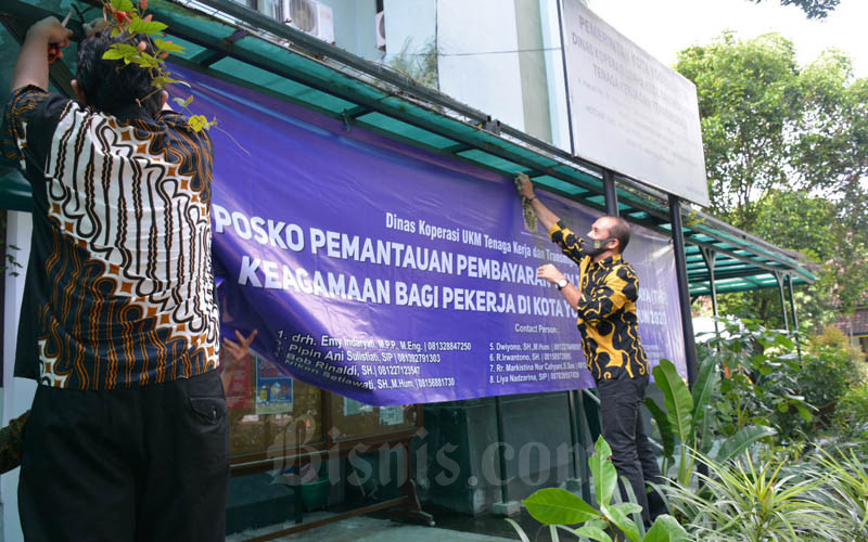 Pendirian Posko THR di Balai Kota Jogja, Selasa (12/5/2020).  - JIBI/Lugas Subarkah
