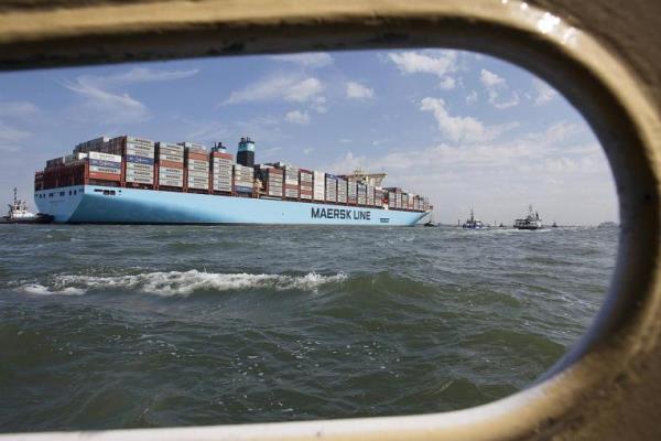 Ilustrasi:Kapal MV Maersk Mc-Kinney saat tiba di pelabuhan Rotterdam (16/8/2013) - Reuters