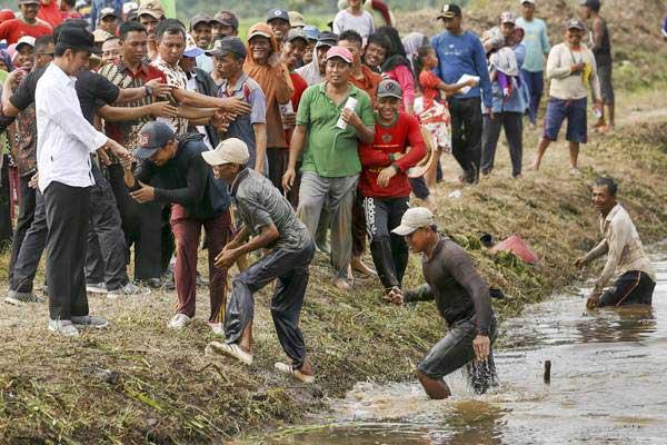 Presiden Joko Widodo (kiri) berjabat tangan dengan sejumlah petani saat meninjau pelaksanaan Program Padat Karya Tunai, di Desa Banyu Urip, Kecamatan Tanjung Lago, Banyuasin, Sumatra Selatan, Senin (22/1). - ANTARA/Nova Wahyudi