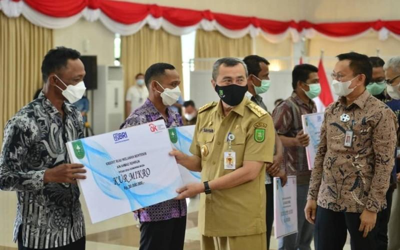 Kepala OJK Riau Yusri (kanan) mendampingi Gubernur Riau Syamsuar (dua kanan) saat meluncurkan Kredit Pembiayaan Melawan Rentenir (KPMR) yang bekerjasama dengan Bank BRI wilayah Pekanbaru.  - Istimewa