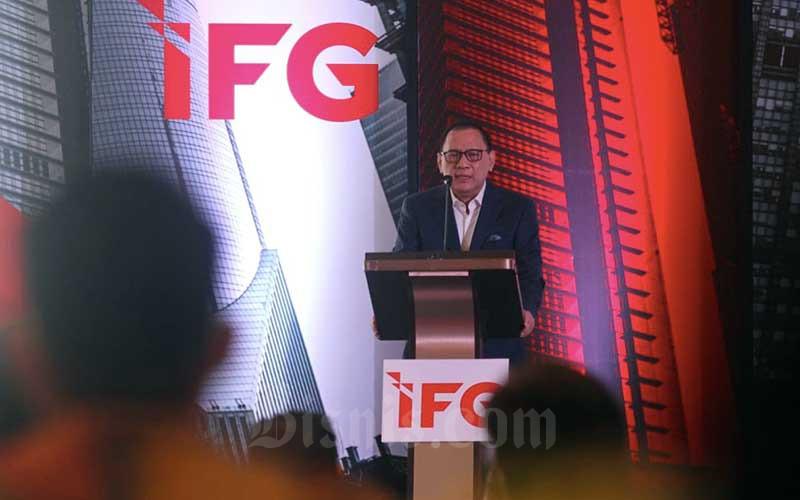 Ketua Dewan Penasihat IFG Progress Agus Martowardojo memberikan sambutan dalam acara peresmian IFG Progress di Jakarta, Rabu (28/4/2021). Bisnis - Arief Hermawan P
