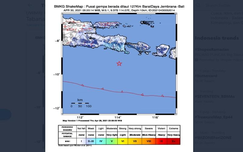 Ilustrasi gempa di Jembrana, Bali  -  BMKG
