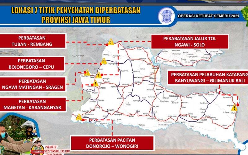 Titik penyekatan mudik di Jawa Timur.