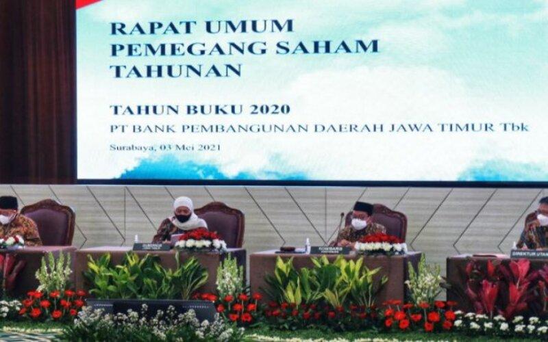 Pelaksanaan RUPST TB 2020 Bank Jatim di Ruang Bromo, Kantor Pusat Bank Jatim lantai 5, Surabaya, Senin (3/5/2021). -  Bank Jatim