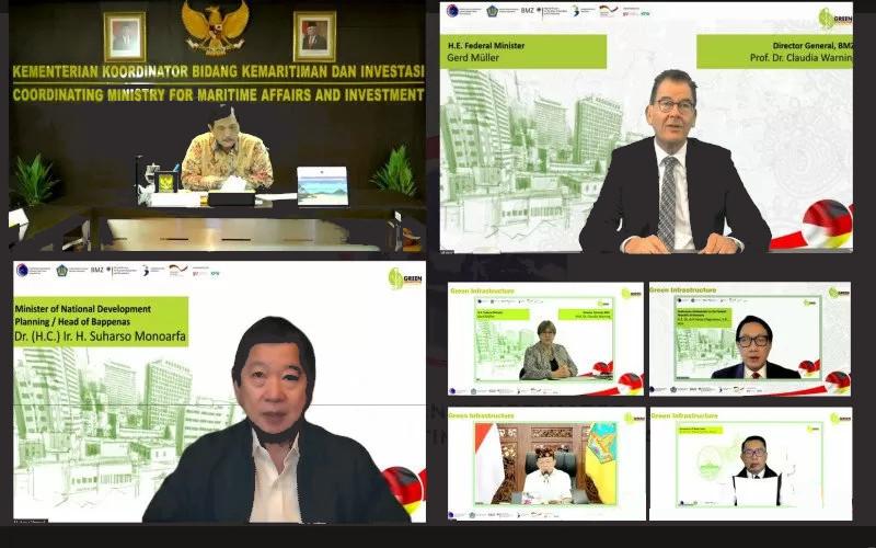 Tangkapan layar acara peluncuran implementasi kerja sama Indonesia dan Jerman 'Inisiatif Indonesia - Jerman untuk Infrastruktur Hijau' pada Kamis (4/3/2021).  - ANTARA