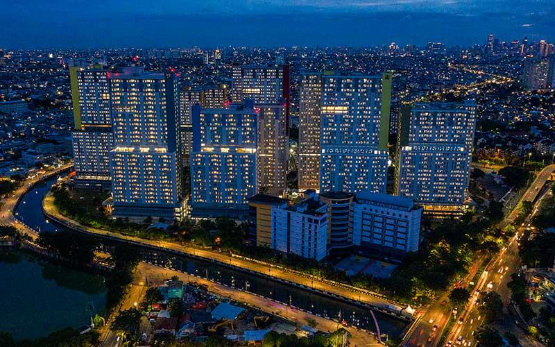 Foto aerial suasana Rumah Sakit Darurat Penanganan Covid-19 Wisma Atlet Kemayoran, di Jakarta, Kamis (28/1/2021). - Antara/Galih Pradipta