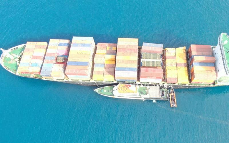 Kapal MV Sinar Solo dengan MV Taho Australia mengalami tubrukan di sekitar Perairan Lagoi Bintan, Kepulauan Riau. -  Dok. Istimewa