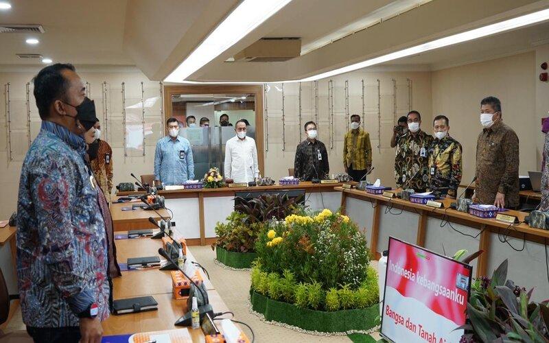 Suasana Rapat Umum Pemegang Saham Luar Biasa (RUPS LB), Di Kantor Pusat Bank Sumut Jl Imam Bonjol, Kota Medan, Jumat (7/5 - 2021).