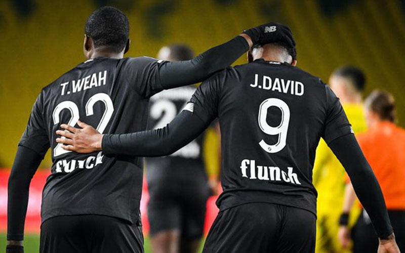 Duet penyerang Lille, Timothy Weah (kiri) dan Jonathan David. - TwitterLOSC_EN