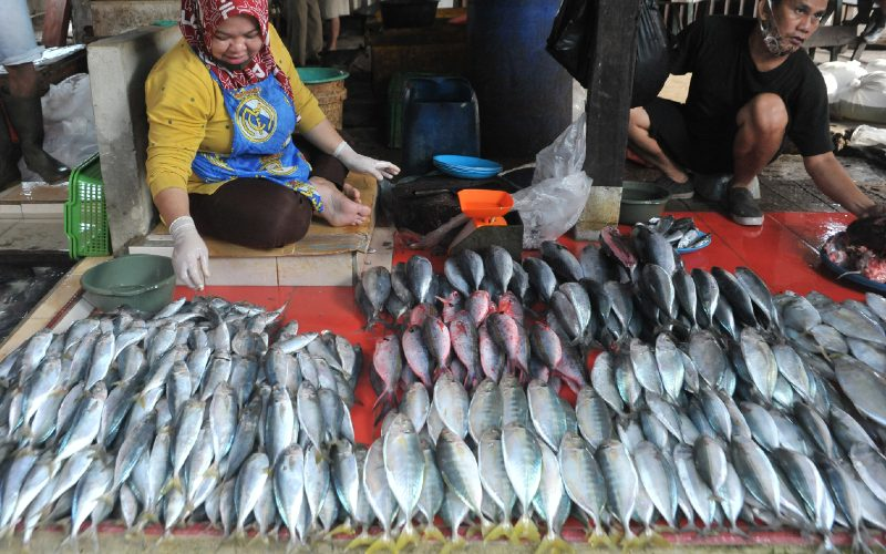 Penjual menyusun dagangan ikan di Pasar Palima Palembang, Sumsel, Sabtu (3/10/2020).  - ANTARA