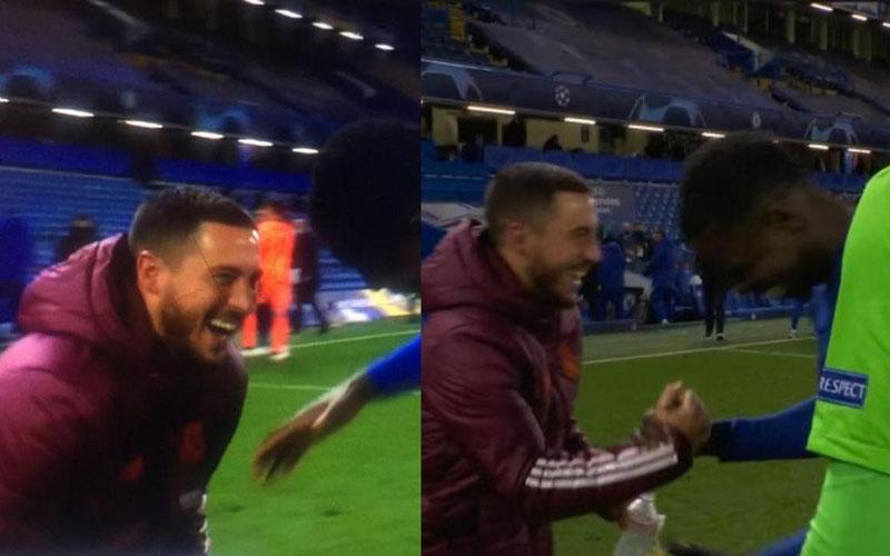 Pemain Real Madrid Eden Hazard tertawa lepas bersama pemain Chelsea setelah timnya disingkirkan eks-klubnya itu di semifinal Liga Champions. - RepublicWorld.com