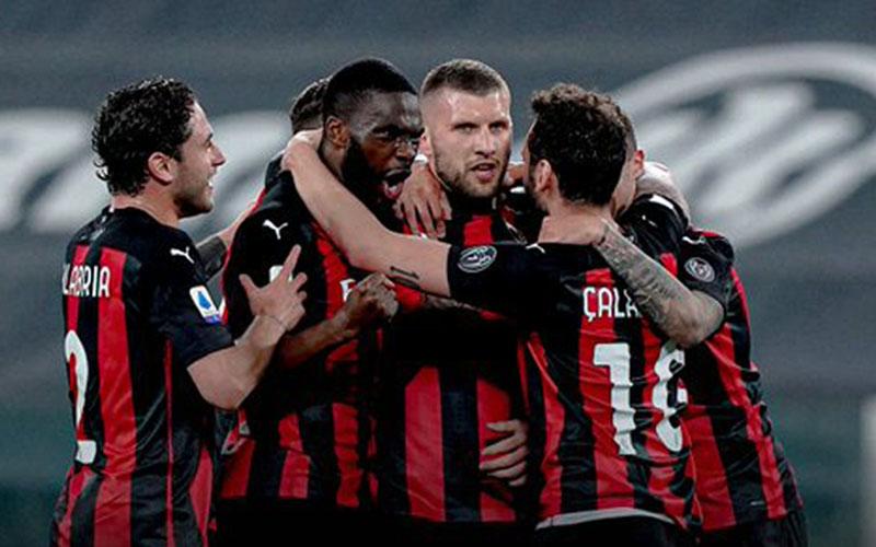 Para pemain Milan setelah menjebol gawang Juventus - Twitter@acmilan