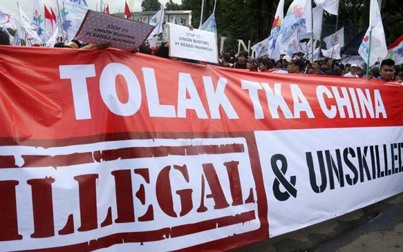 Ilustrasi demo menolak masuknya tenaga kerja asing (TKA) dari China. - KSPI