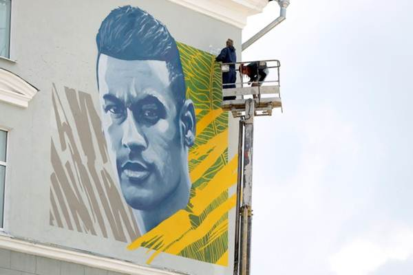 Mural Neymar di Kazan, Rusia - Reuters