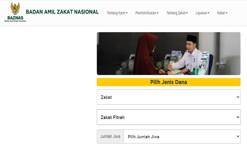 Cara membayar zakat fitrah online lewat situs Baznas  -  Baznas.go.id
