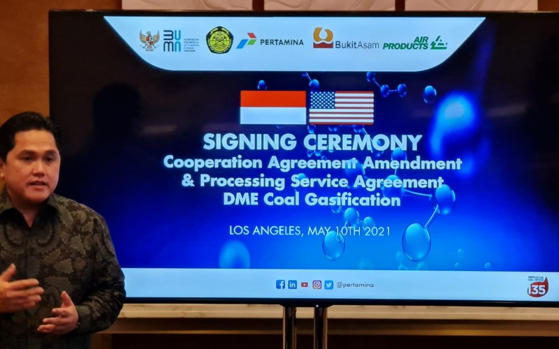 Menteri BUMN Erick Thohir dalam kunjungan kerja ke Amerika Serikat, salah satunya mengawal kerja sama gasifikasi batu bara antara Pertamina, PTBA, dan Air Products. Istimewa