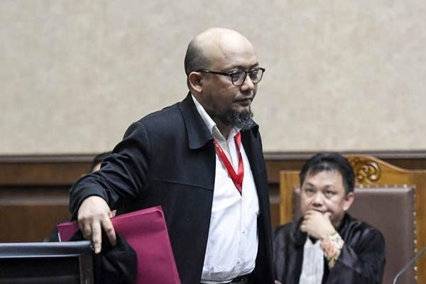 Penyidik KPK Novel Baswedan bersiap menjadi saksi dalam sidang kasus merintangi penyidikan perkara korupsi dengan terdakwa Lucas di Pengadilan Tipikor, Jakarta, Kamis (10/1/2019). - ANTARA/Hafidz Mubarak A