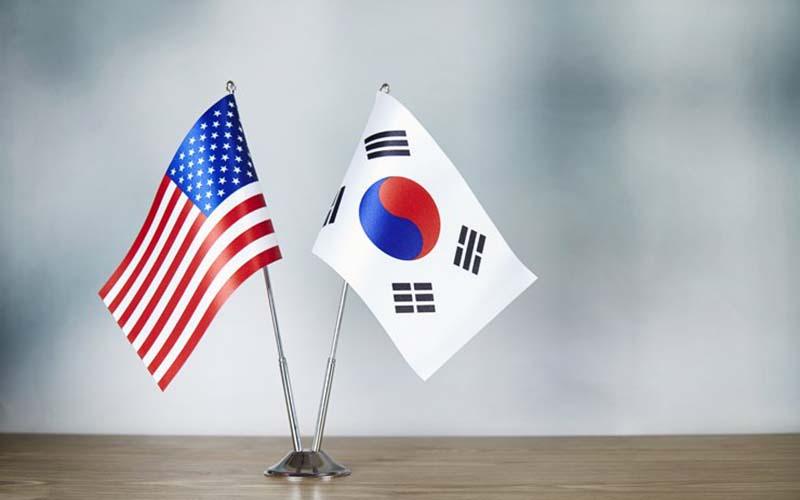 Ilustrasi bendera Amerika Serikat dan Korea Selatan.  - Getty Image Bank