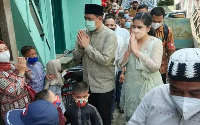 Wali Kota Medan Bobby Nasution bersama Ketua TP PKK Kota Medan Kahiyang Ayu  - Antara