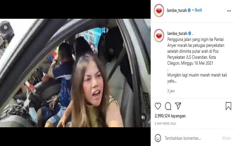 Video viral wanita mengamuk saat disuruh putar balik oleh polisi di penyekatan JLS Ciwandan, Kota Cilegon, Anyer  -  Instagram: Lambe Turah