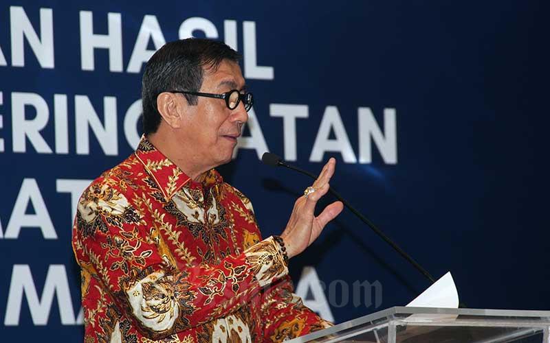 Menteri Hukum dan Hak Asasi Manusia (HAM) Yasonna Laoly menjadi keynote speaker saat menghadiri acara peluncuran hasil studi pemeringkatan penghormatan HAM di 100 perusahaan publik, Jakarta, Selasa (16/7/2019). Bisnis - Triawanda Tirta Aditya