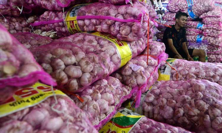 Pedagang bawang putih beraktivitas di salah satu pasar di Jakarta, Selasa (3/3/2020). Bisnis - Abdurachman