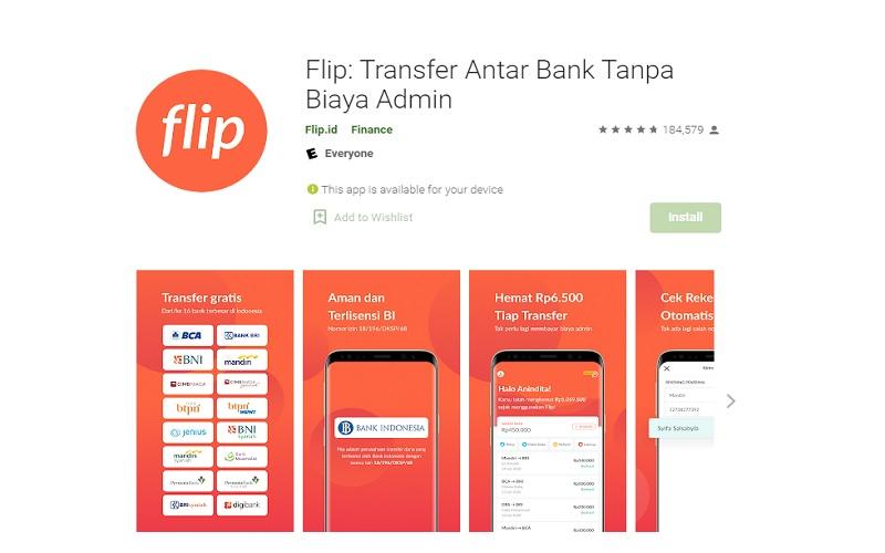 Aplikasi Flip menyediakan fitur transfer uang antar bank tanpa biaya admin  -  Google Play Store