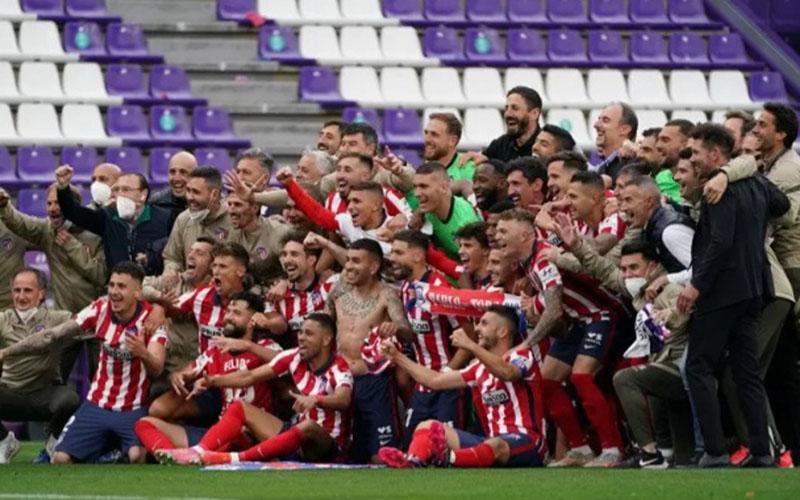 Atletico Madrid merayakan gelar juara La Liga 2020-2021./Antara - AFP