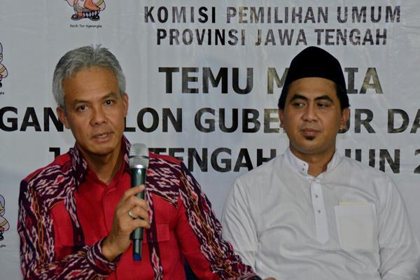Bakal cagub-cawagub Jawa Tengah Ganjar Pranowo (kiri) dan Taj Yasin (kanan). - Antara