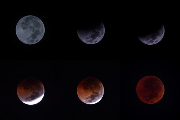 Ilustrasi - Foto combo Gerhana Bulan Total atau Blood Moon - Antara/Aprillio Akbar