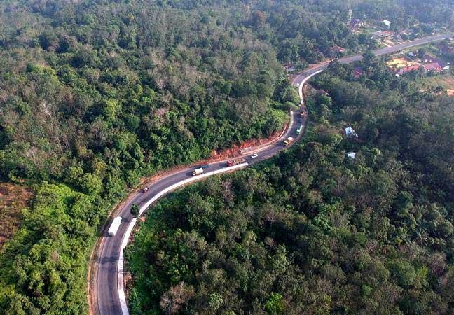 Foto udara Jalan Lintas Timur Sumatra di Mestong, Muarojambi, Jambi./Antara - Wahdi Septiawan