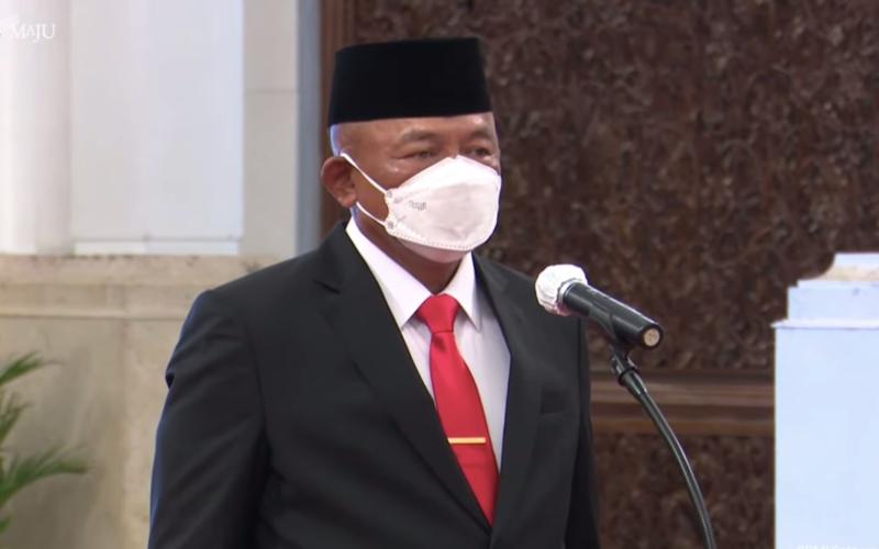 Letnan Jenderal TNI Ganip Warsito mengikuti seremoni pelantikannya sebagai Kepala Badan Nasional Penanggulangan Bencana (BNPB) pada hari ini, Selasa (25/5/2021), di Istana Negara - Tangkapan Layar Youtube/Sekretariat Presiden