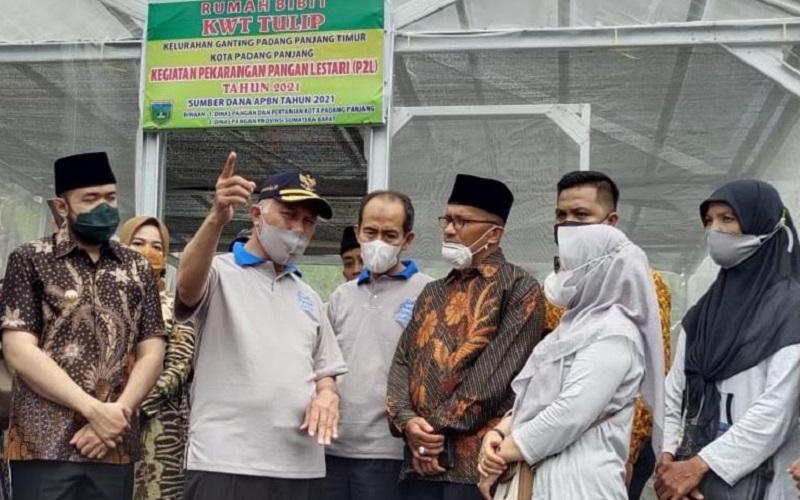 Gubernur Sumbar Mahyeldi (tengah) meninjau Kelompok Wanita Tani Tulip di Kota Padang Panjang, dalam kegiatan pencanangan Kawasan Rumah Pangan Lestari (KRPL) - Istimewa