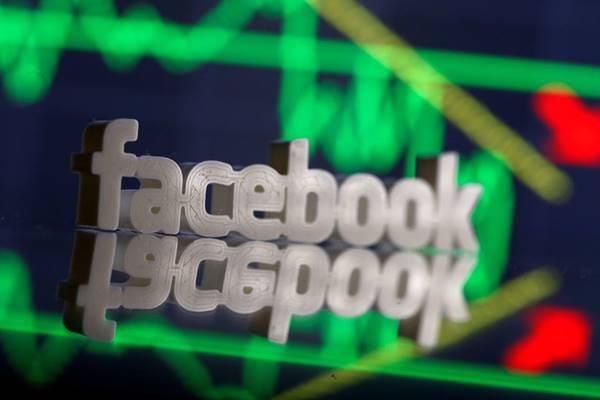 Logo Facebook dalam bentuk 3 dimensi. - Reuters